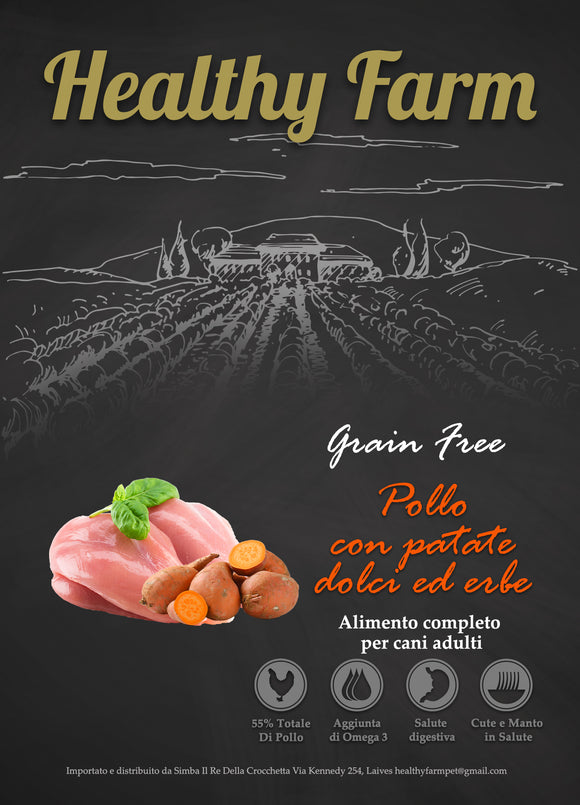 Healthy Farm Grain Free Adult Pollo Patate Dolci e Erbette 12Kg