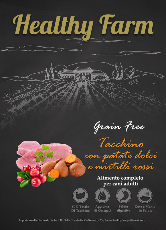Healthy Farm Grain Free Adult Tacchino, Patate Dolci e Mirtilli Rossi 2Kg