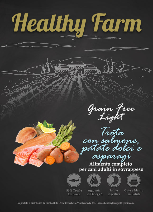 Healthy Farm Grain Free Light con Salmone, Patate Dolci e Asparagi 12Kg