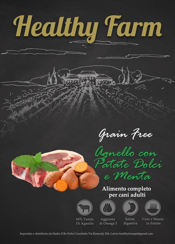 Healthy Farm Grain Free Adult Agnello Patate Dolci e Menta 2Kg