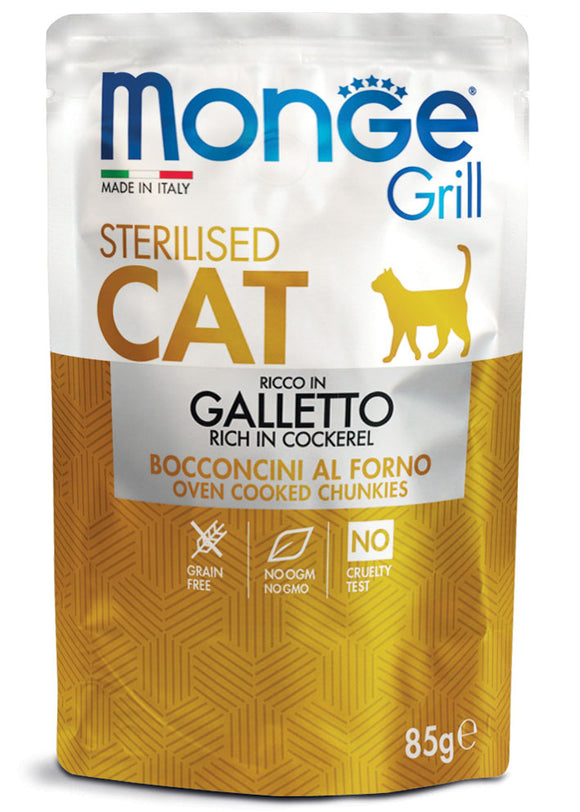 Monge Cat Grill Sterilised Ricco in Galletto 85gr