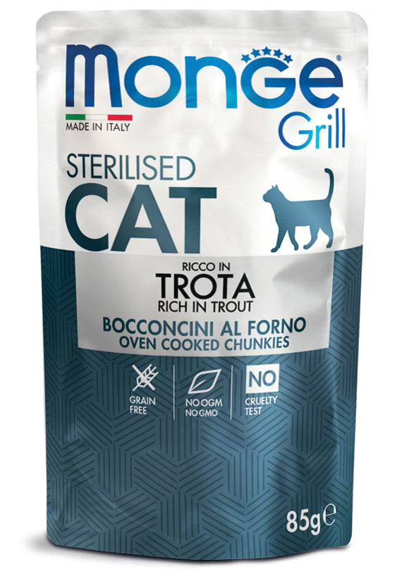 Monge Cat Grill Sterilised Ricco in Trota 85gr