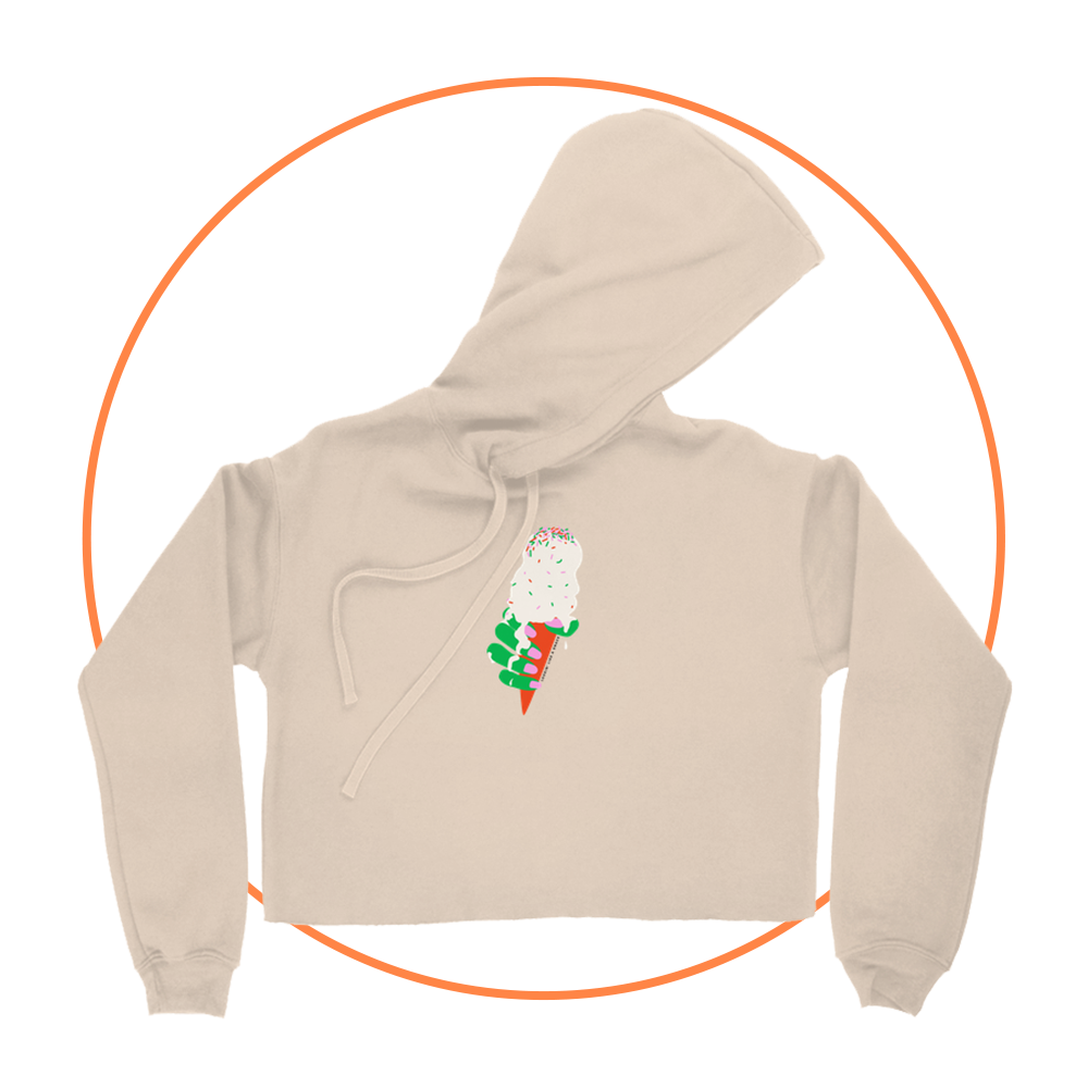 Like A Snack Cropped Hoodie - Heather Dust