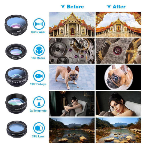 Universal 10 in 1 Smartphone Lens Set + FREE TRAVEL BOX
