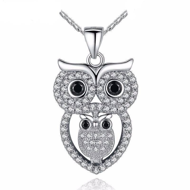 Owl Necklace Austrian Zircon White Gold Dipped