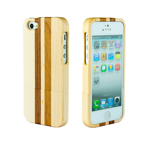 eimolife iPhone 5 5S Unique Handmade Natural Wood Case Bamboo Case Cover (maple & walnut)