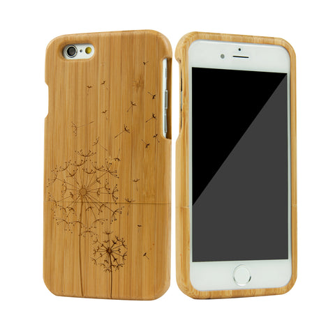 "eimolife iPhone 6 Plus Unique Handmade Natural Wood Bamboo Case Protective Cover 5.5"" (dandelion)"
