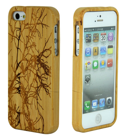 eimolife iPhone 5 5S Unique Handmade Natural Wood Case Bamboo Case Cover (bird)