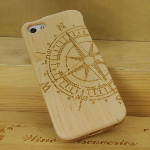 eimolife iPhone 5 5S Unique Handmade Natural Wood Case Bamboo Case Cover (maple-compass)