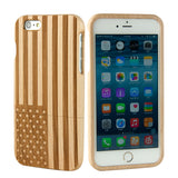 eimolife iPhone 6 4.7-inch Unique Handmade Natural Wood Bamboo Case Protective Cover (maple-the stars and stripes)