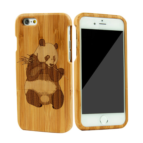 eimolife iPhone 6 4.7-inch Unique Handmade Natural Wood Bamboo Case Protective Cover (panda)