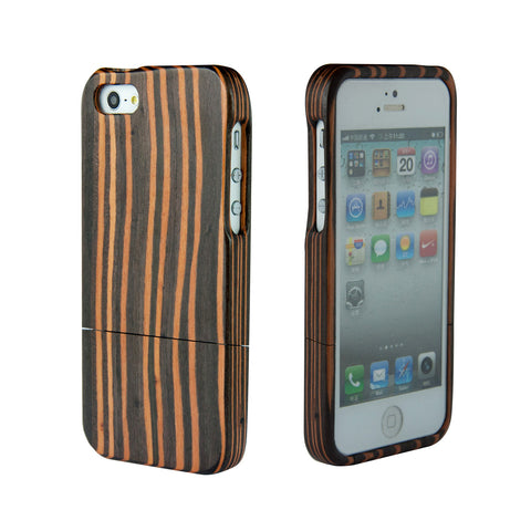eimolife iPhone 5 5S Unique Handmade Natural Wood Case Bamboo Case Cover (ebony-stripe)