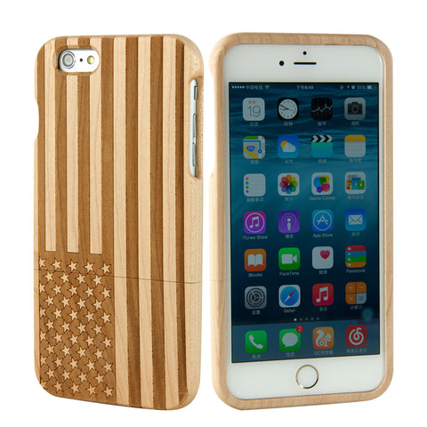 "eimolife iPhone 6 Plus Unique Handmade Natural Wood Bamboo Case Protective Cover 5.5"" (maple-the stars and stripes)"