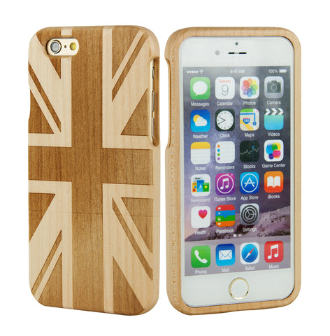 eimolife iPhone 6 4.7-inch Unique Handmade Natural Wood Bamboo Case Protective Cover (union jack maple)