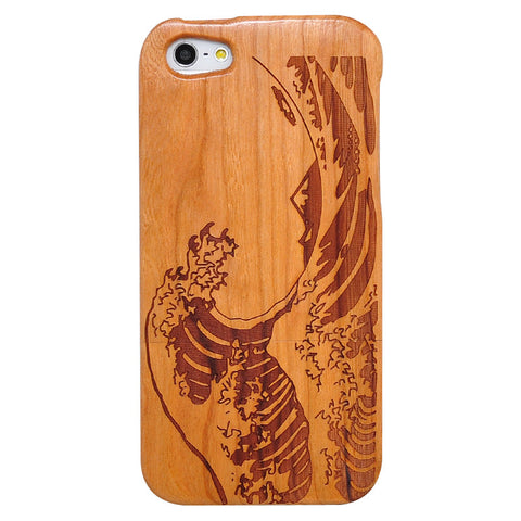 eimolife iPhone 5 5S Unique Handmade Natural Wood Case Bamboo Case Cover (cherry-sea wave)