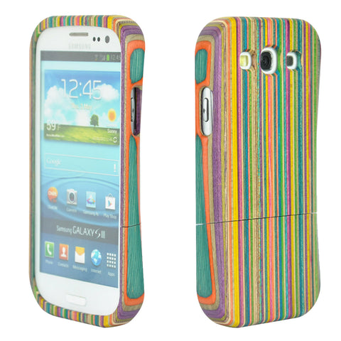 eimolife SamSung Galaxy S3 III Natural Handmade Wood Bamboo Case Protective Cover (colourful stripes)