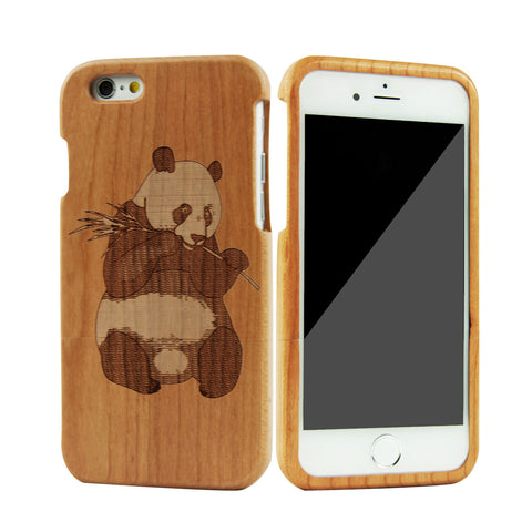 "eimolife iPhone 6 Plus Unique Handmade Natural Wood Bamboo Case Protective Cover 5.5"" (cherry-panda)"