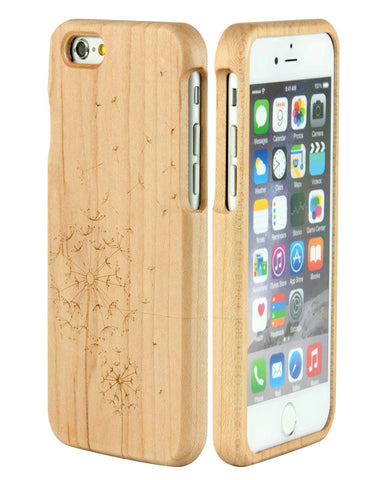 eimolife iPhone 6 4.7-inch Unique Handmade Natural Wood Bamboo Case Protective Cover (dandelion maple)