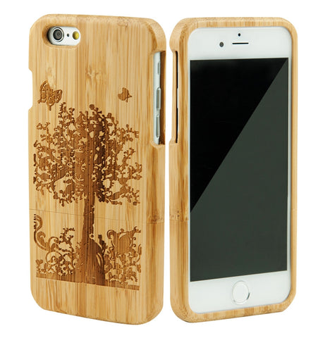 "eimolife iPhone 6 Plus Unique Handmade Natural Wood Bamboo Case Protective Cover 5.5"" (butterfly)"