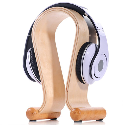 eimolife Elegant Headphone Natural Wood Stand Wooden Headset Holder (U Shape) with Anti-skid Feet for Headphones of All Sizes (maple)