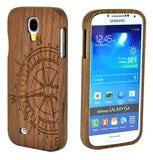 eimolife SamSung Galaxy S4 IV Natural Handmade Wood Bamboo Case Protective Cover (walnut-compass)