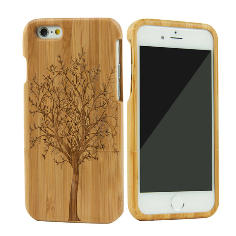 eimolife iPhone 6 4.7-inch Unique Handmade Natural Wood Bamboo Case Protective Cover (tree)