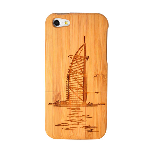 eimolife iPhone 5 5S Unique Handmade Natural Wood Case Bamboo Case Cover (Burj Al Arab)