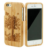 eimolife iPhone 6 4.7-inch Unique Handmade Natural Wood Bamboo Case Protective Cover (butterfly)