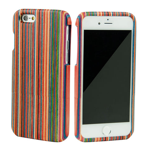 eimolife iPhone 6 4.7-inch Unique Handmade Natural Wood Bamboo Case Protective Cover (color-stripe)