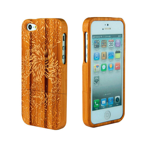eimolife iPhone 5 5S Unique Handmade Natural Wood Case Bamboo Case Cover (firework)