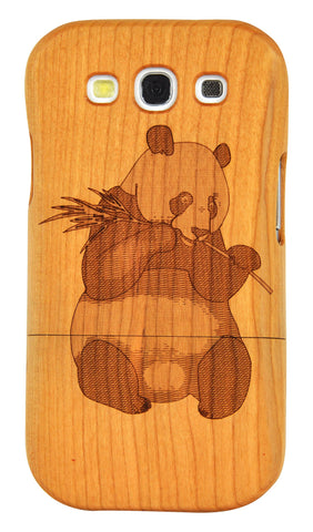 eimolife SamSung Galaxy S3 III Natural Handmade Wood Bamboo Case Protective Cover (cherry-panda)