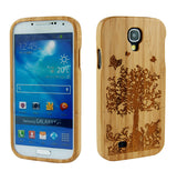 eimolife SamSung Galaxy S4 IV Natural Handmade Wood Bamboo Case Protective Cover (butterfly)