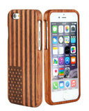 "eimolife iPhone 6 Plus Unique Handmade Natural Wood Bamboo Case Protective Cover 5.5"" (palisander-the Stars and the Stripes)"