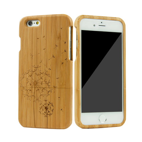 eimolife iPhone 6 4.7-inch Unique Handmade Natural Wood Bamboo Case Protective Cover (dandelion)