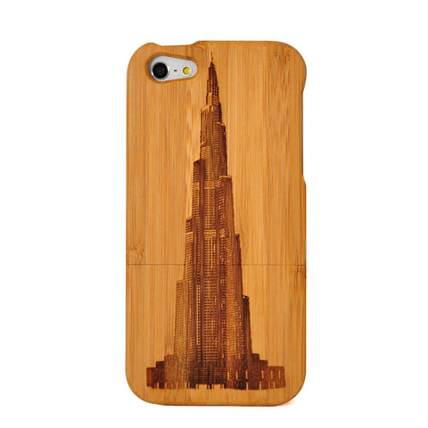 eimolife iPhone 5 5S Unique Handmade Natural Wood Case Bamboo Case Cover (Dubai Tower)