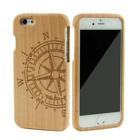 eimolife iPhone 6 4.7-inch Unique Handmade Natural Wood Bamboo Case Protective Cover (maple-compass)