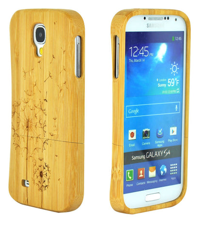 eimolife SamSung Galaxy S4 IV Natural Handmade Wood Bamboo Case Protective Cover (dandelion)