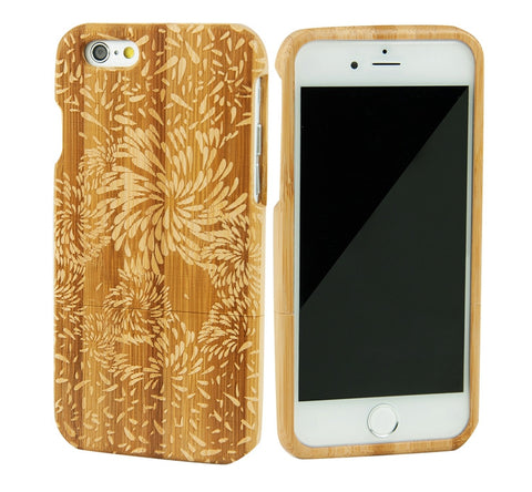 eimolife iPhone 6 4.7-inch Unique Handmade Natural Wood Bamboo Case Protective Cover (firework)