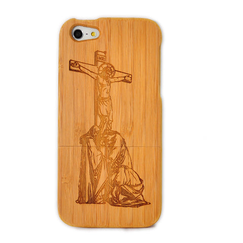 eimolife iPhone 5 5S Unique Handmade Natural Wood Case Bamboo Case Cover (Jesus)