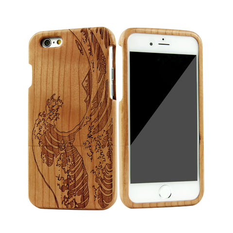 eimolife iPhone 6 4.7-inch Unique Handmade Natural Wood Bamboo Case Protective Cover (cherry-sea wave)
