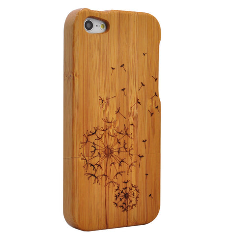 eimolife iPhone 5 5S Unique Handmade Natural Wood Case Bamboo Case Cover (dandelion)