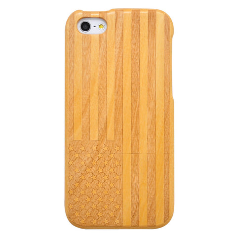 eimolife iPhone 5 5S Unique Handmade Natural Wood Case Bamboo Case Cover (cherry-the stars and stripes)