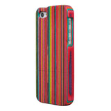 eimolife iPhone 5 5S Unique Handmade Natural Wood Case Bamboo Case Cover (colourful stripes)