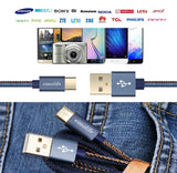 eimolife USB Type C Cable [2-Pack 6ft] Gold plated USB Denim Braided Fast Charging Cable for Samsung Galaxy Note 8 S8, Google Pixel 2, Nexus 5X/6P,LG V30 V20 G6 5, Nokia Lumia and more