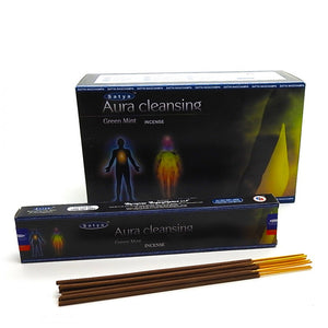 Incense Sticks Satya - Aura Cleansing - Green Mint - 12 Sticks