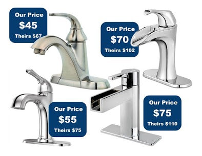 Bathroom and kitchen faucets or fixtures with clearance price tag