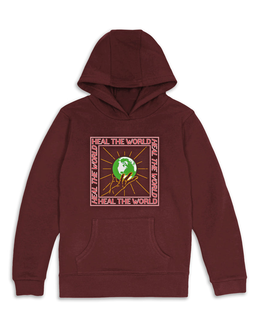 Heal The World Hooded Sweatshirt - Maroon