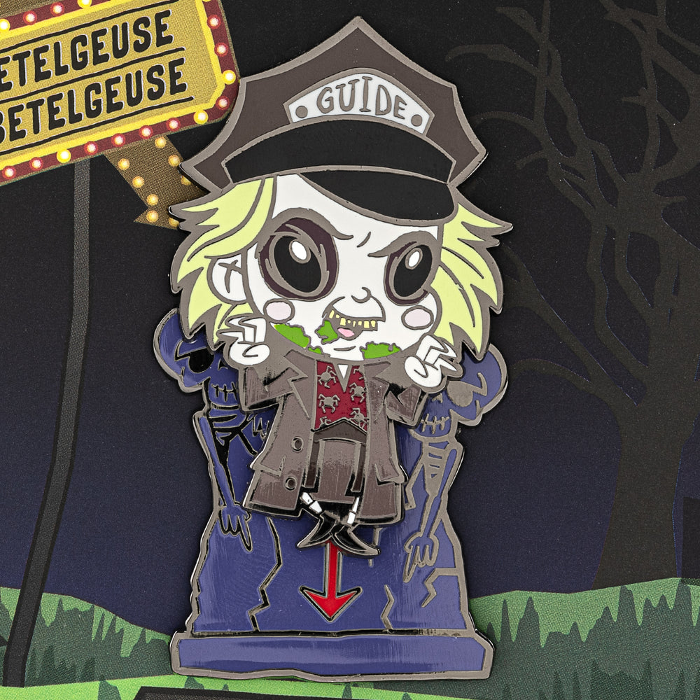 "Beetlejuice Gravestone LE 500 3"" Collector Box Enamel Pin-zoom"