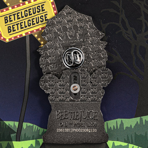 "Beetlejuice Gravestone LE 500 3"" Collector Box Enamel Pin"