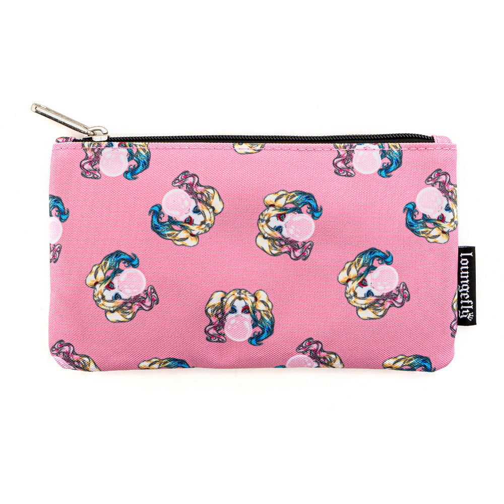 Loungefly X DC Comics Harley Quinn Bubble Gum AOP Nylon Pouch-zoom